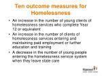 ten outcome measures for homelessness2