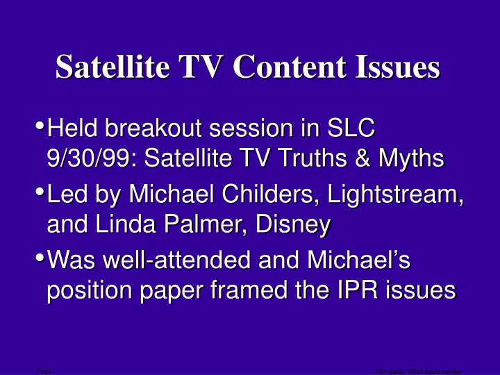satellite tv content issues n.