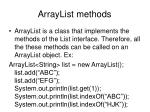 arraylist methods