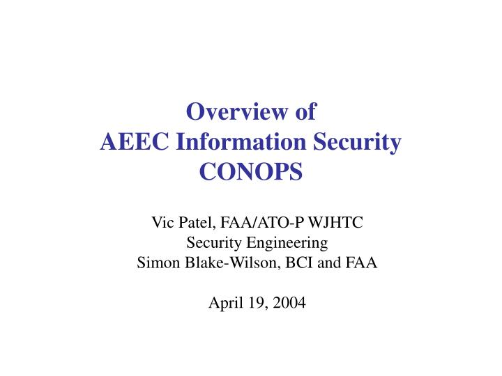overview of aeec information security conops n.