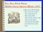 baa baa black sheep mother goose nursery rhyme 1833