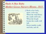 hush a bye baby mother goose nursery rhyme 1833