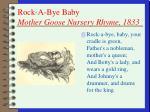 rock a bye baby mother goose nursery rhyme 1833