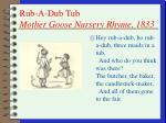 rub a dub tub mother goose nursery rhyme 1833