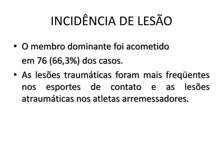 INCIDÊNCIA DE LESÃO
