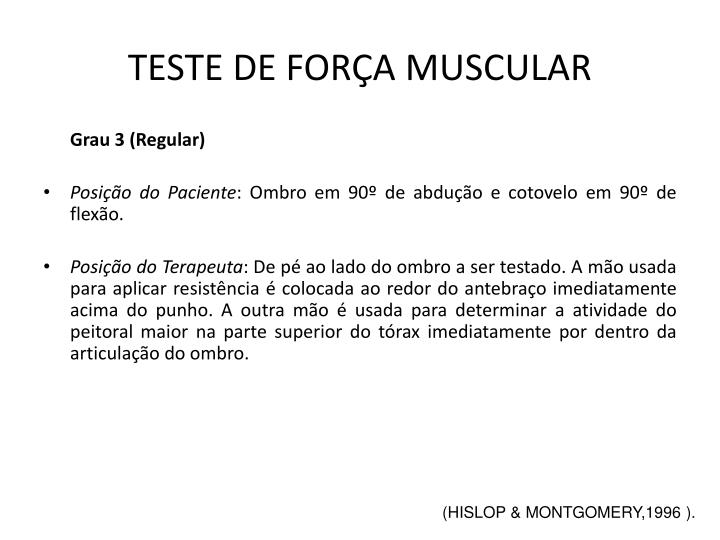 TESTE DE FORÇA MUSCULAR