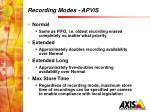 recording modes apvis