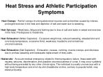 heat stress and athletic participation symptoms