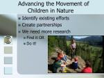 advancing the movement of children in nature