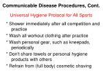 communicable disease procedures cont