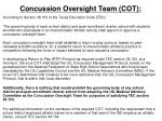 concussion oversight team cot