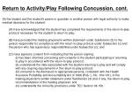 return to activity play following concussion cont