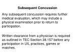 subsequent concussion