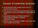 purpose of leadership symposia