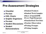 pre assessment strategies