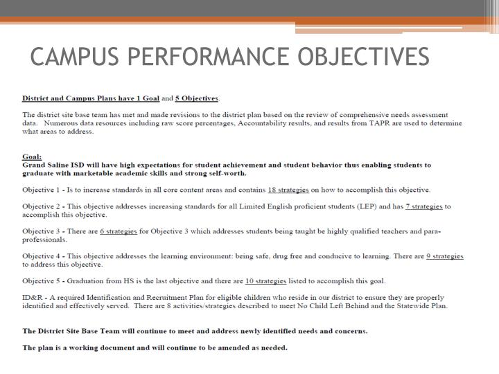 CAMPUS PERFORMANCE OBJECTIVES