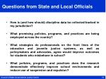 questions from state and local officials
