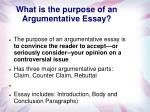 what is the purpose of an argumentative essay