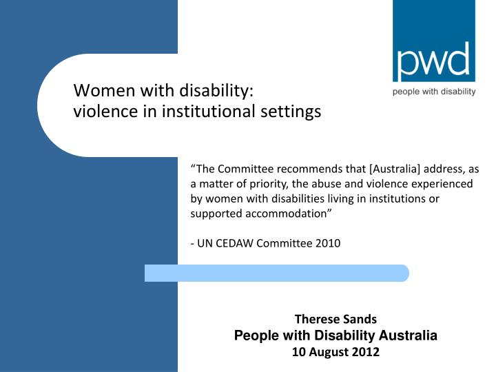 women with disability violence in institutional settings n.