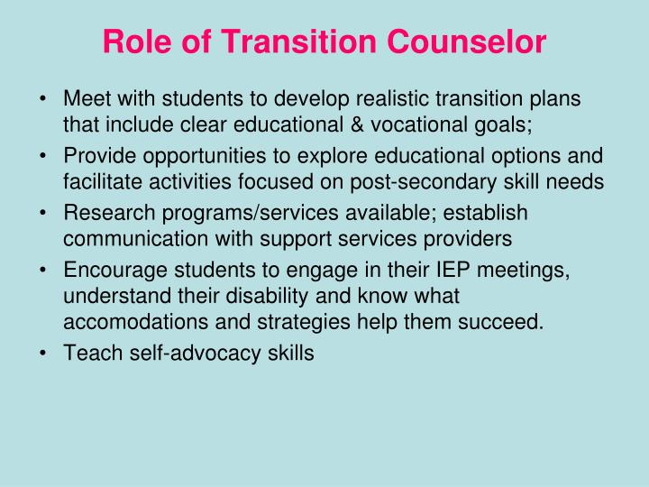 Role of Transition Counselor