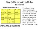 final fields correctly published references
