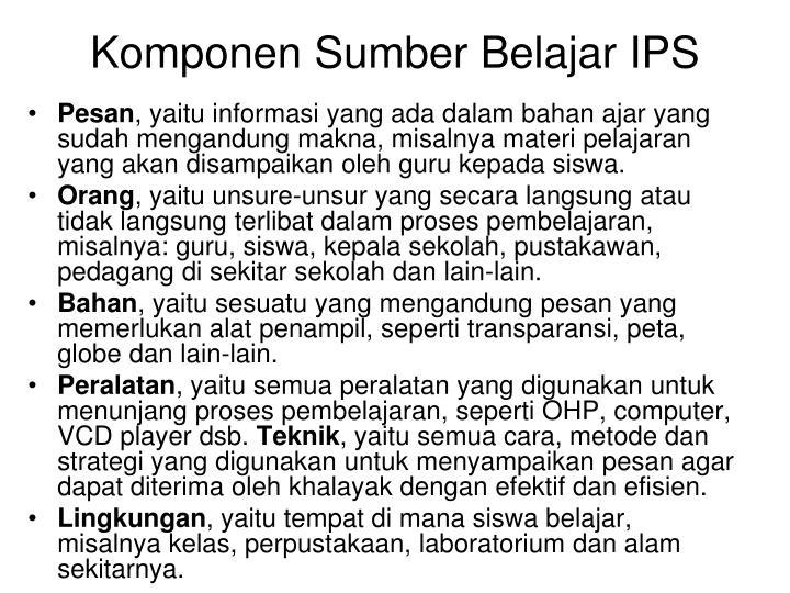 Komponen Sumber Belajar IPS