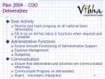 plan 2004 coo deliverables