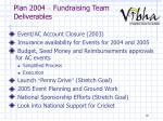plan 2004 fundraising team deliverables