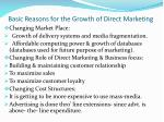 basic reasons for the growth of direct marketing