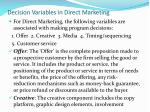 decision variables in direct marketing
