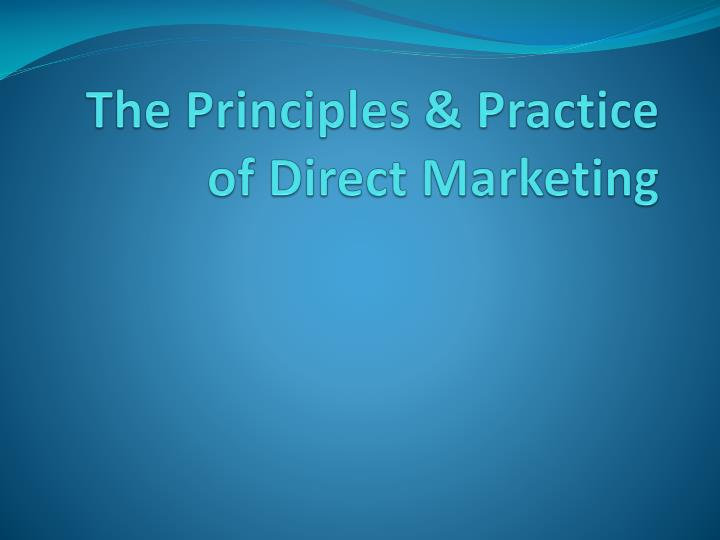 the principles practice of direct marketing n.