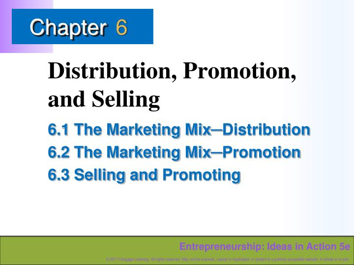 distribution promotion and selling n.