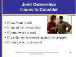 joint ownership issues to consider