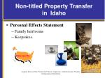 non titled property transfer in idaho