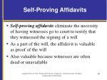 self proving affidavits