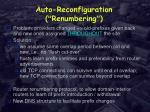 auto reconfiguration renumbering