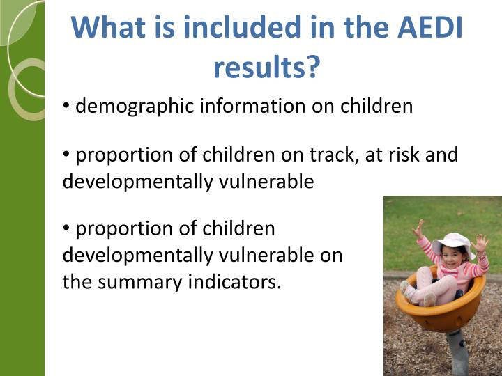 What is included in the AEDI results?