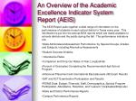 an overview of the academic excellence indicator system report aeis