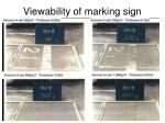 viewability of marking sign