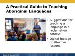 a practical guide to teaching aboriginal languages