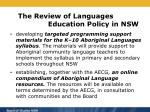 the review of languages education policy in nsw