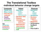 the translational toolbox individual behavior change targets2