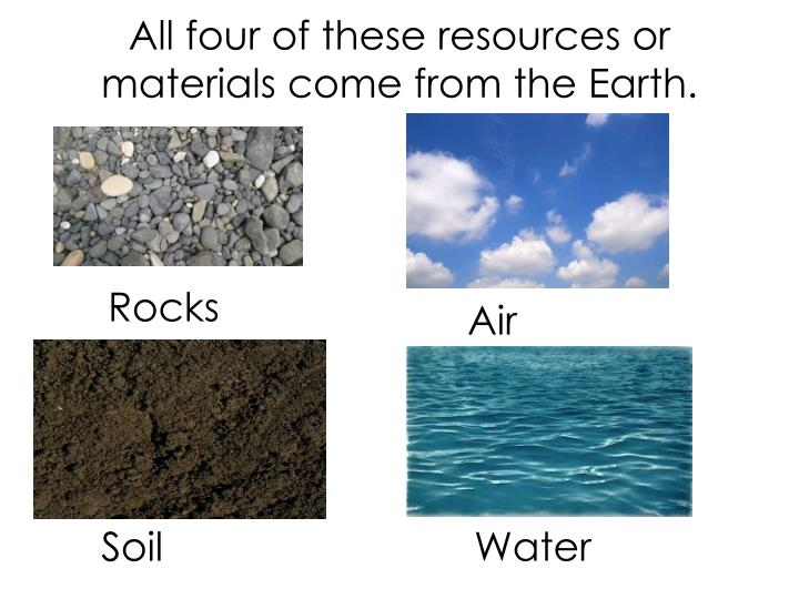 All four of these resources or materials come from the Earth.