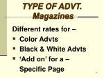 type of advt magazines7