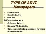 type of advt newspapers1