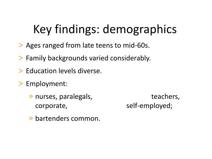 Key findings: demographics