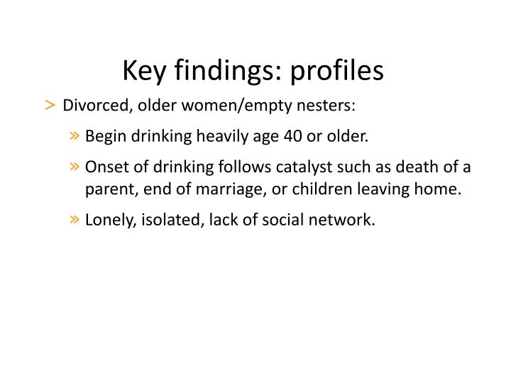 Key findings: profiles