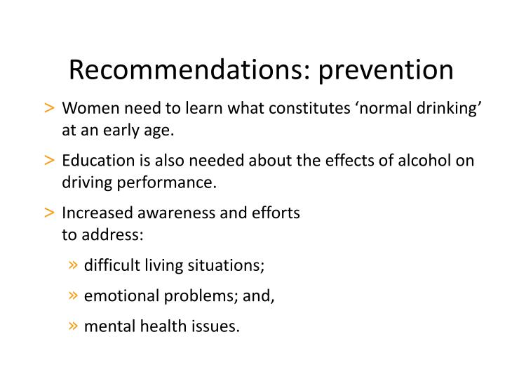 Recommendations: prevention