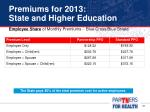 premiums for 2013 state and higher education