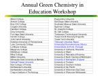 annual green chemistry in education workshop